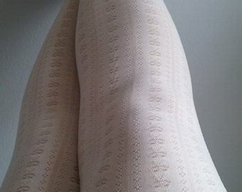 White Cream Tights stockings pantyhose suededead