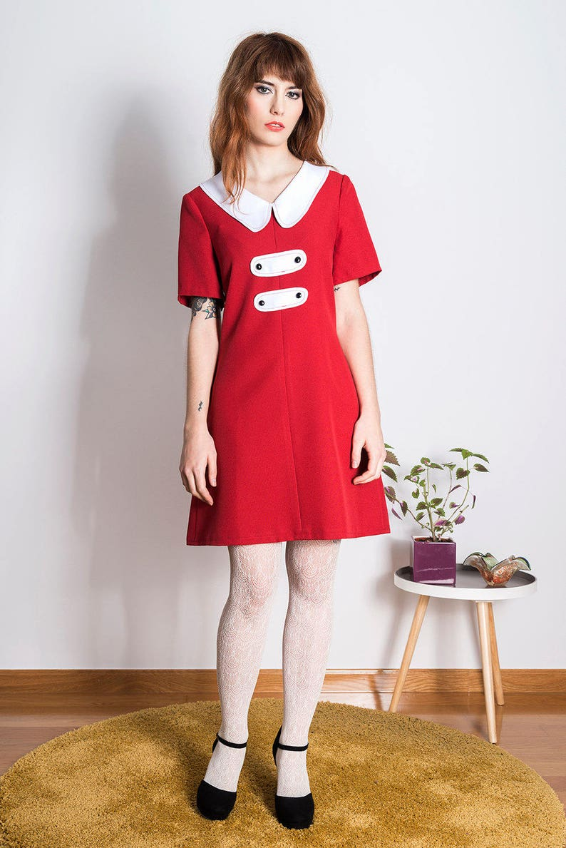 82e0e8370ab76 Mod Peter Pan dress scooter red a line 60s | Etsy