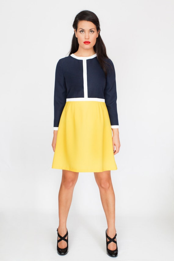 Navy yellow and white Snowwhite A line cute tea dress Audrey  35294fd1d
