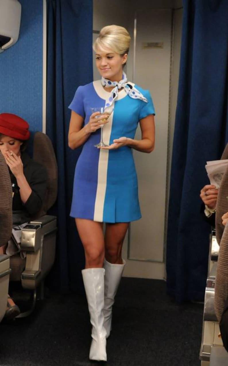 1960s Women's Outfit Inspiration 60s Stewardess Dress 2 tone vintage aviation dress Mod Shift dress 60s mini dress A line dress 1960s dress $160.00 AT vintagedancer.com