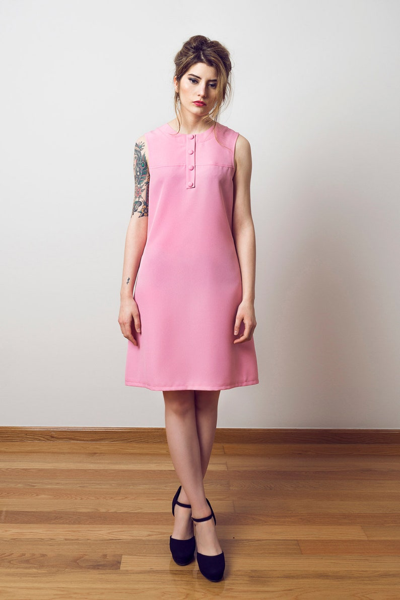 60s Dresses | 1960s Dresses Mod, Mini, Hippie 60s pink dress Twiggy inspired pink dress 1960s pink dress A line scooter dress Mod dress 60s pink dress $160.00 AT vintagedancer.com
