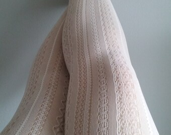 White bride Cream Tights wedding stockings lace pantyhose suededead