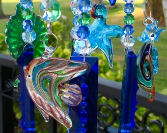 Crystal Wind Chime - Blue Chandelier Crystals Windchime - Crystal Garden Art -  Sea Life