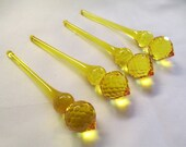4 YELLOW Chandelier Crystals Prisms - SET of F0UR 100mm Yellow Faceted Drop Crystals - Faceted Crystal Drops Ornaments - LIMITED Supply