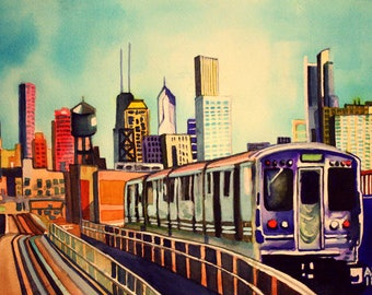 "CTA Green Line 8""x10"" Print of Original Watercolor Painting"