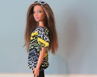 CURVY BARBIE Black and Yellow Tunic Top Outfit
