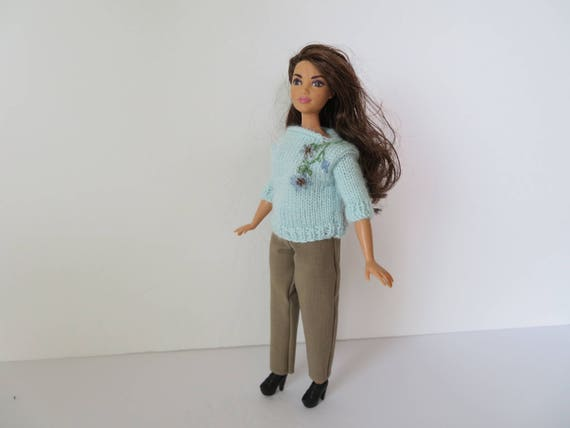 CURVY BARBIE Light Blue Embroidered Sweater Outfit  85b46e833