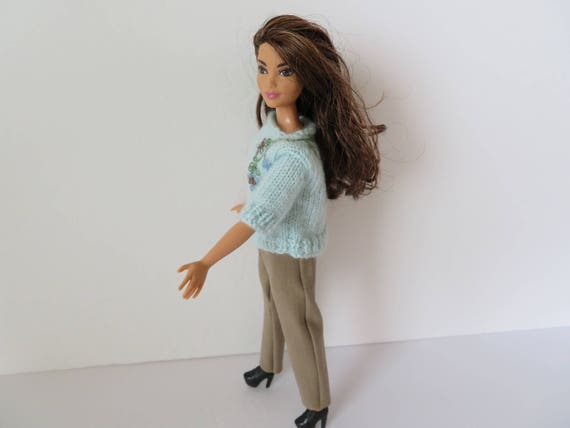 CURVY BARBIE Light Blue Embroidered Sweater Outfit  588903844