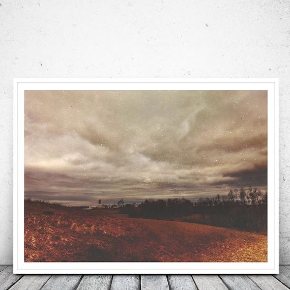 farm landscape Hunger Strike  Moody art print dark forest photography grunge sky