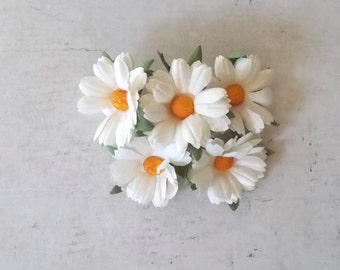 Mulberry Paper flowers, Daisies, White, for Scrapbooking, Card Making, Mixed Media, Mini Albums, Home Decor
