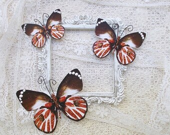 Butterflies, Scrapbooking, Mixed Media, Shabby Chic, Tag Art, Home Decor, Red Tail, Set of 3