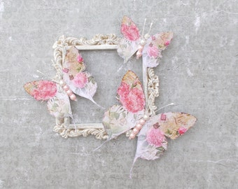 Butterflies, Scrapbooking, Mixed Media, Shabby Chic, Tag Art, Home Decor, Shabby Rose, Pearl body, Set of 3