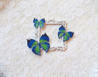 Butterflies, Midnight Green, Scrapbooking, Mixed Media, Shabby Chic, Tag Art, Home Decor, Set of 3