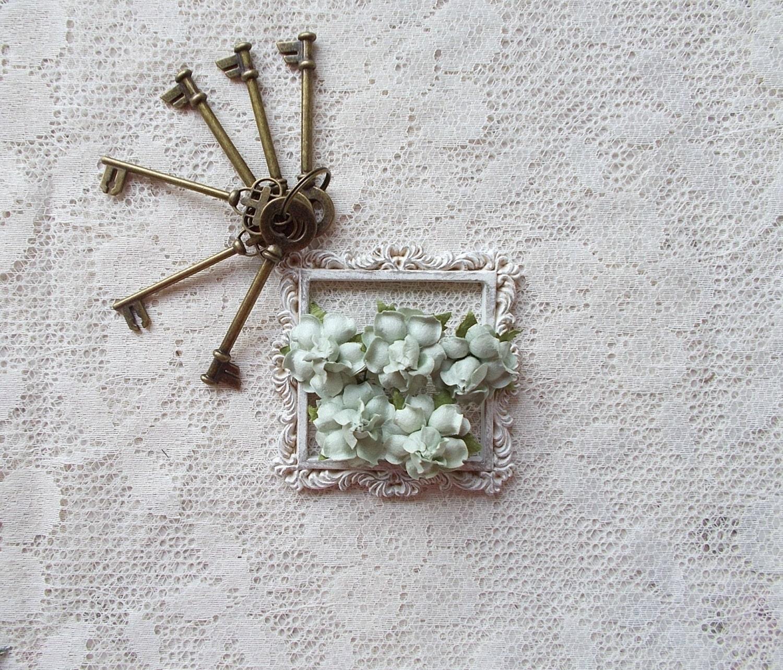 Mulberry Paper Flower Sage Scrapbooking Embellishment Etsy