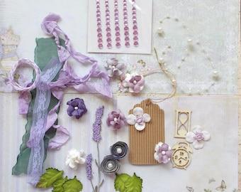 Inspiration Greeting Card Kit, Shades of purple, Scrapbooking, Card Making, Mixed Media, Tag Art, Tags, Mini Album, Art Journaling