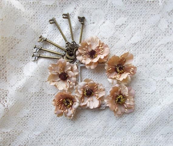 Silk flower cherry blossoms vintage brown scrapbooking mini etsy image 0 mightylinksfo