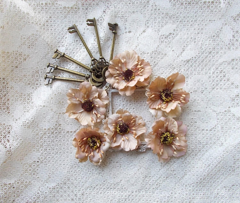 Silk Flower Cherry Blossoms Vintage Brown Scrapbooking Mini Etsy