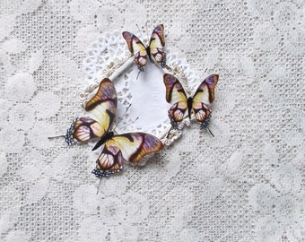 Butterflies, Scrapbooking, Mixed Media, Shabby Chic, Tag Art, Home Decor, Lavender Evening, Set of 3