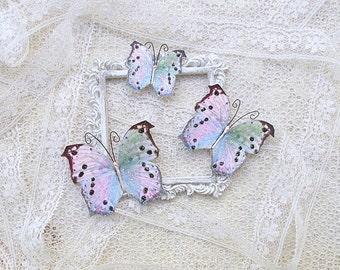 Butterflies, Scrapbooking, Mixed Media, Shabby Chic, Tag Art, Home Decor, Glitter Spot, Set of 3