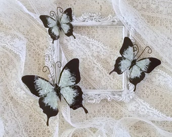 Butterflies, Scrapbooking, Mixed Media, Shabby Chic, Tag Art, Home Decor, Sage Set of 3