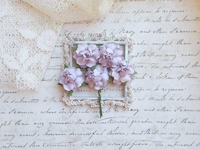 Mulberry Paper Flower Lavender Scrapbooking Embellishment Roses Wedding Bridal Card Making Mixed Media Mini Album Set Of 5