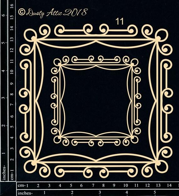 Laser Cut Chipboard 2 Piece Set Fancy Scrapbook Circle Frame