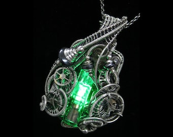 Green LED Nixie Tube Pendant with Upcycled Electronic and Watch Parts, Steampunk/Cyberpunk Fusion