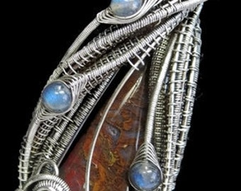 Plume Agate Wire-Wrapped Pendant in Antiqued Sterling Silver with Blue Labradorite