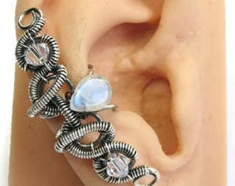 Coiled-Coil Teardrop Moonstone & Oxidized Sterling Silver Ear Cuff