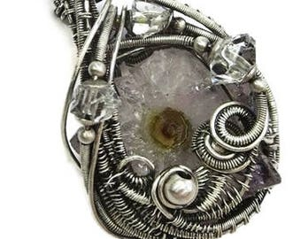 Amethyst Stalactite Slice Druzy Wire-Wrapped Pendant in Antiqued Sterling Silver with Herkimer Diamonds