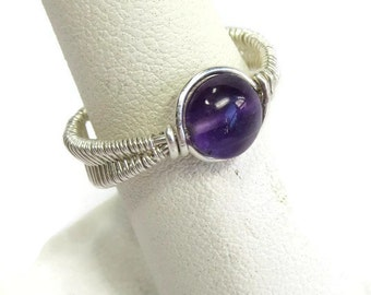 Wire-Wrapped Amethyst and Sterling Silver Adjustable Ring (SWSRSS1)