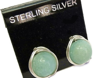 Amazonite and Sterling Silver Herringbone-Topped Wire-Wrapped Post Earrings