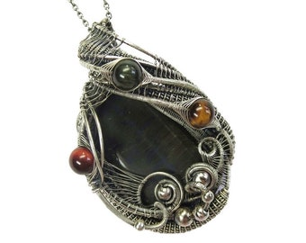 Blue Tiger Eye with Red, Golden and Blue Tiger Eye