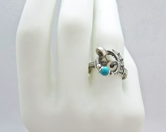 Adjustable Sterling Silver Steampunk Ring with Custom Stone