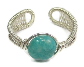 Wire-Wrapped Amazonite and Sterling Silver Adjustable Ring (SWSRSS8)