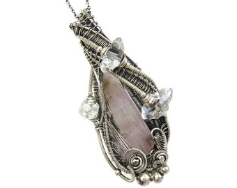 Kunzite Pendant with Herkimer Diamonds, Wire Wrap