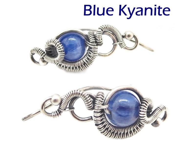 Malachite Aquamarine Sterling Silver Ear Pins in Amethyst Moonstone or Labradorite Kyanite Lapis