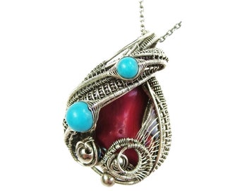 Red Coral Pendant with Turquoise