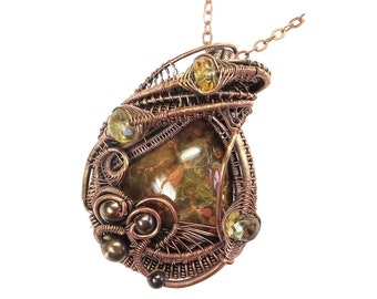 Lake Superior Agate Pendant in Copper with Citrine