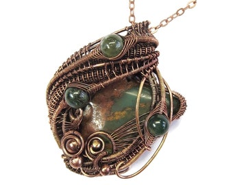African Green Opal Pendant in Copper with Moss Agate