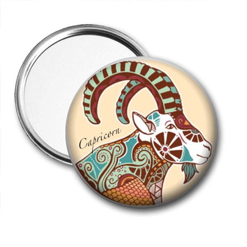 Capricorn Astrological Sign  Zodiac Pocket Mirror Magnet Pinback  Unique  Gift  Accessory  Birthday Gift  Fundraiser