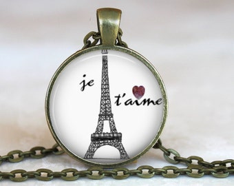 Je T'aime..I love you in French..Eiffel Tower..Paris..Pendant, Necklace or Key Ring