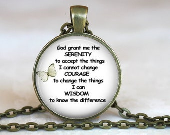 Serenity Prayer..Inspirational Prayer..Pendant, Necklace or Key Ring