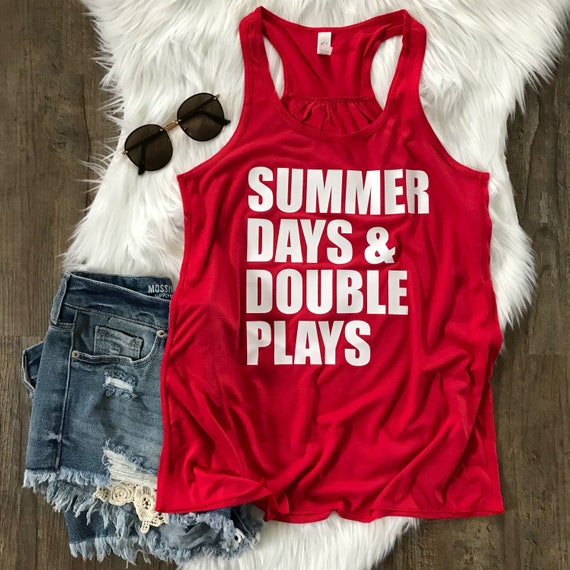 29c125e3610c Summer Days and Double Plays Shirt Baseball Tank Top Mom
