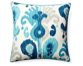 Pillow Cover Cushion 20x20  turquoise navy ikat  geometric  pattern  , other sizes available,