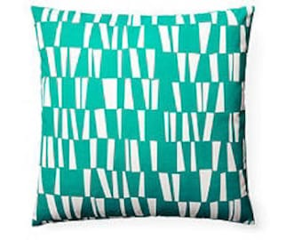 Pillow Cover Cushion 20x20  turquoise  interrupted  stripe geometric  pattern  , other sizes available,