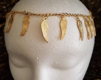 Head chain headband wings gold boho