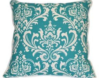 Pillow Cover Cushion 20x20 turquoise damask pattern  , other sizes available,