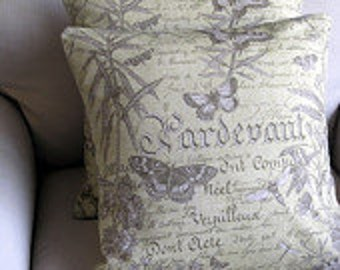 Pillow Cover Cushion you select size at check out  gray grey blue natural linen butterfly script chevron