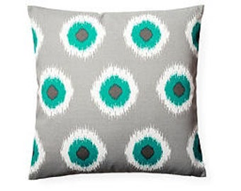 Pillow Cover Cushion 20x20  turquoise and gray domino  geometric  pattern  , other sizes available,